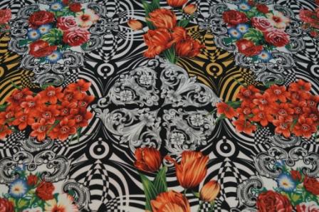 Купить атласную ткань Versus с печатным рисунком в интернет магазине тканей fashion G